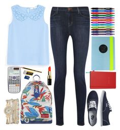"""""""back to school"""" by ecem1 ❤ liked on Polyvore featuring MANGO, J Brand, Vans, Eastpak, Paper Mate, Fanciful Pages, Kate Spade, Bobbi Brown Cosmetics, Casio and maurices"""
