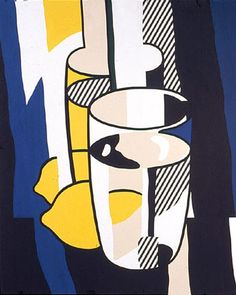 Glass and Lemon in Front of a Mirror by Roy Lichtenstein, oil and magna on canvas, genre: Pop Art, 1974 Roy Lichtenstein Pop Art, Modern Art, Contemporary Art, Oil Canvas, Arte Popular, Rembrandt, Art Design, Oeuvre D'art, Graphic