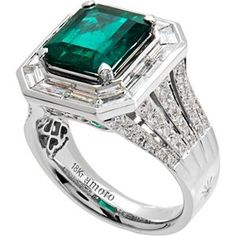 $75,000 Colombian Emerald and Diamond Ring in 18kt white gold: Amoro: Jewelry   Just sayin :)
