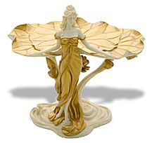 Lady and Lotus Flower Art Nouveau Jewelry Plate