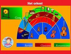 Nástroje v orchestri s predškolákmi na interaktívnu tabuľu alebo počítači kleuteridee.nl I Love School, Wolf, Music For Kids, Sensory Play, Musical, Drama, Preschool, Teaching, Club