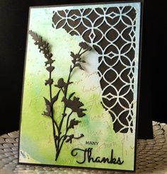 Thank You card for Phyl September 2016 Tim Holtz corner die, Tim Holtz WIld Flower die, IO Thanks, Water colored background with gold embossed script stamp and splatters.