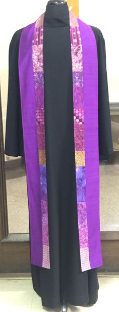 Magenta silk Galilee clergy stole of silk and cottons