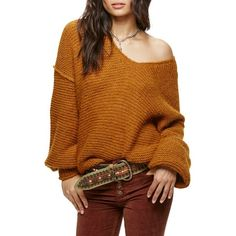 Women's Free People All Mine Sweater ($128) ❤ liked on Polyvore featuring tops, sweaters, terracotta, slouch sweater, brown tops, free people sweaters, v-neck sweater and brown v neck sweater