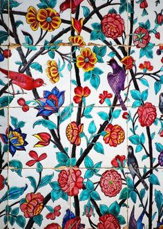 Hand painted tiles at the tomb of great Iranian poet Saadi in Shiraz - Iran