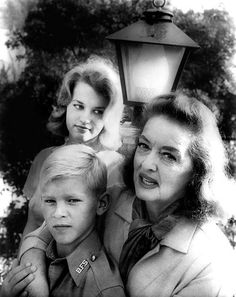 Bette Davis & her children, daughter B.D. Hyman and son Michael Merrill.