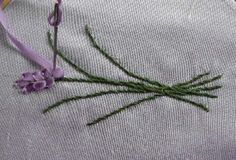 Silk Ribbon Tutorial - Lavender   Lavendera flower quite often worked in Silk Ribbon Embroidery   on Perfume Sachets, Pillows, gi...
