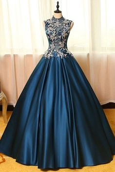 Vintage prom dress, ball gown, elegant blue satin lace appliques long dress for prom