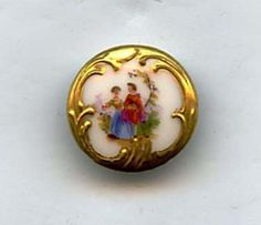 SOLD: Couple on porcelain button small hand painted dated 1890 to early 1900's