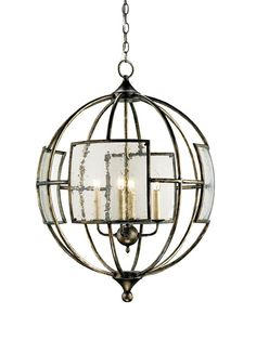 Broxton Orb Chandelier. 9750 32h x 24d x 24w. The aged seeded glass ?windows? are an eye-catching element in the spherical wrought iron frame of the Broxton Orb Chandelier. With a vintage-inspired Pyrite Bronze finish, this extraordinary design will cast a warm glow in a contemporary space. The Lillian August Collection.
