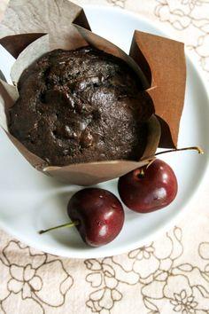 Chocolate Cherry Zucchini Muffins.