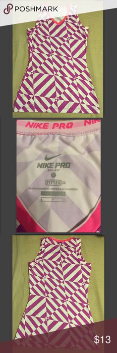 Nike Pro Dri-Fit (Fitted) Workout Top Polyester / Spandex workout top. Worn a couple of times, but not really my style. True to size. Price negotiable. Nike Tops Muscle Tees