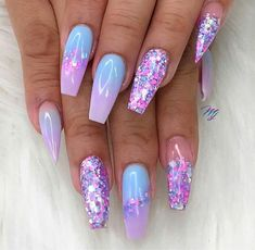 40 Fabulous Nail Designs That Are Totally in Season Right Now – clear nail art designs,almond nail art design, acrylic nail art, nail designs with glitter – nageldesign. Best Acrylic Nails, Acrylic Nail Art, Summer Acrylic Nails Designs, Purple Nail Designs, Almond Nails Designs Summer, Acrylic Nail Designs Glitter, Unicorn Nails Designs, Bright Nail Designs, Cute Summer Nail Designs