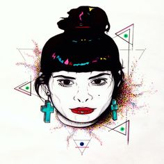 My babe Colors triangle dots eyes My popart work styl