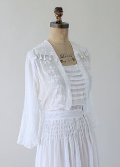 Edwardian_Antique 1910s Sheer White Cotton Lawn Party Dress