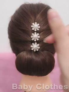Hairdo For Long Hair, Bun Hairstyles For Long Hair, Headband Hairstyles, Indian Wedding Hairstyles, Braided Hairstyles Tutorials, Party Hairstyles, Front Hair Styles, Medium Hair Styles, Hair Style Vedio