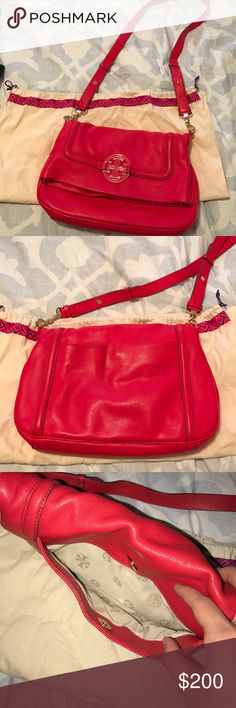 Tory Burch Amanda Crossbody Great condition! True red color. Only slight staining on back pocket from denim. Will probably clean right off! This bag is great and will be sad to part with it! Tory Burch Bags Crossbody Bags