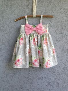 Black and White with Pink Floral and a Pink Bow, baby and toddler dress on Etsy, $65.00