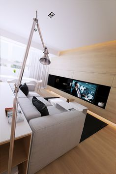 Media room with built-in tv