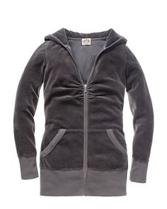 "A signature staple of the Juicy girl's beloved collection of basics!  This super soft velour hoodie features a deep V neckline, logo ""J"" zipper pull, banded cuff and waist and a cuddly hood at the back of the neck.  Machine wash   Cotton/polyester   Made in the USA"