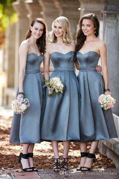 Tea Length Bridesmaid Dresses 2016 Grey Sweetheart Open Back Satin Wedding Guest…