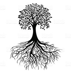Tree with roots royalty-free stock vector art