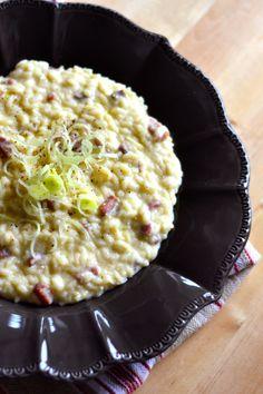 Risotto con porri, ricotta e prosciutto . Risotto Recipes, Rice Recipes, New Recipes, Summer Recipes, Best Italian Recipes, Couscous, I Love Food, My Favorite Food, Food Inspiration