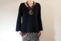 Ethnic statement necklace, tribal rustic jewelry - brown black - OOAK