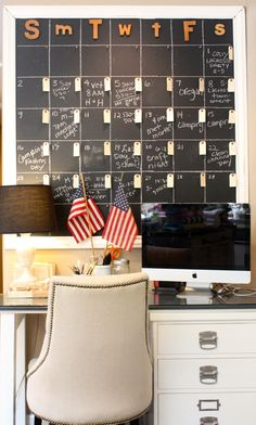 We love this oversized chalkboard wall chore organizer from My Sweet Savannah. Learn how to use chalkboard paint at our #DIHWorkshop on August 15.