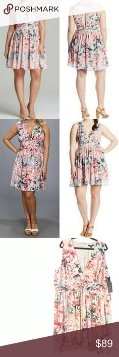 """BB Dakota Plus Size 22 Gelsey Dress - NEW w/Tags This gorgeous BB Dakota Plus Size 22 Gelsey Dress is NEW with Tags. So pretty! Pink floral on blue-gray. Lined in gray. Bust measures 27"""" across laying flat, measured from pit to pit, so 54"""" around. 42"""" long. Plunging neckline, pintucking at waist. Hidden zip back. NEW!!! ::: Bundle & save! ::: Model pics from Nordstrom.com and Bloomingdales.com. ::: No trades. BB Dakota Dresses"""