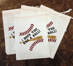 Baseball Birthday Party Decor - Toddler Sports Birthday / Baseball Party Favor Bag / Candy Bag Baseball / Customized Thank You / Muslin Bags by ScrapendipityBags