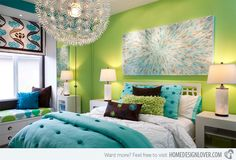 Traditional Bedroom Teenage Girl Room Design, Pictures, Remodel, Decor and Ideas - page 6 Love the colors! Bedroom Turquoise, Bedroom Green, Dream Bedroom, Bedroom Wall, Bedroom Decor, Bedroom Modern, Contemporary Bedroom, Bedroom Colors, Bed Room