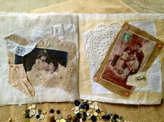"""Vintage Photo """"Book"""" (this idea was made into a cloth book but I am thinking of using the same ideas for a memory quilt as quilt squares)"""