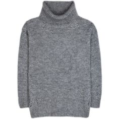 Saint Laurent Mohair-Blend Turtleneck Sweater found on Polyvore featuring tops, sweaters, grey, turtleneck sweater, grey turtleneck sweater, gray sweater, yves saint laurent and turtleneck top