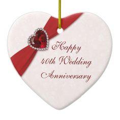 Damask 40th Wedding Anniversary Heart Ornament