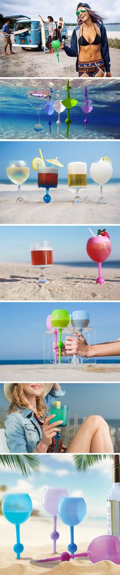 Made exclusively for beaches, the Beach Glass is a glass redesigned for the sand. With a spiked stem and a ball-stop, the glass can be pitched into the sand with ease and will never topple over. The glass is BPA free, shatter-proof, dishwasher safe, and completely reusable. The glasses come in a curved wine-glass and a cylindrical scotch-glass design. BUY NOW!
