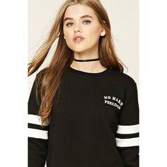 Forever21 No Hard Feelings Sweatshirt (1,020 INR) ❤ liked on Polyvore featuring tops, hoodies, sweatshirts, crew-neck sweatshirts, crew neck crop top, forever 21 sweatshirts, brown sweatshirt and crop top