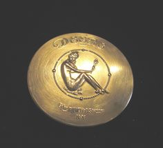 Deere Art Nouveau Gold Compact Box 1920s Nude Powder Tin Rare
