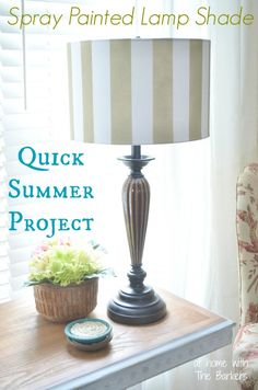 Spray Painted Lamp Shade-Quick Summer Project!