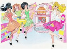 "1988 Barbie Magazine  Illustration from The Barbie Story ""Let's Go To The Hop! Starring Barbie and the Sensations"" By Betsy Loredo"
