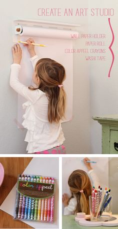 Create the perfect art studio for your budding artists. Via Land of Nod I could put this in my craft room for the kids Kitchen Decorating, Decorating Ideas, Art For Kids, Crafts For Kids, Deco Kids, Simple Art, Easy Art, It's Easy, Girl Room