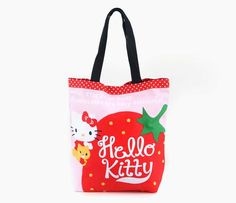 Hello Kitty Canvas Tote Bag: Strawberry Friend