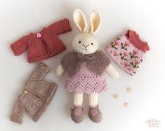 According to the pattern by Little cotton rabbits Wool Yarn, Merino Wool, Julie Williams, Little Cotton Rabbits, Crochet Teddy, Plush Animals, Cotton Thread, Black Cotton, Bunny
