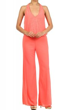 SHOWNO Women V-Neck Loose Fit Casual Solid Color Sleeveless Wide Leg Jumpsuit Romper