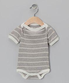 Gray & Natural Stripe Organic Bodysuit