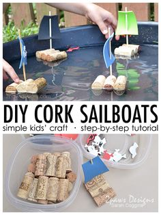DIY Cork Sailboats - kid crafts & activities - Have fun building your own cork sailboats! This simple project will keep kids busy as they design a - Toddler Crafts, Diy Crafts For Kids, Easy Crafts, Kids Diy, Easy Projects, Projects For Kids, Craft Projects, Craft Activities, Toddler Activities
