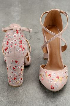 The Lottie Nude Embroidered Ankle Strap Heels are the fun, floral heels you have. - The Lottie Nude Embroidered Ankle Strap Heels are the fun, floral heels you have been searching for - Ankle Strap Heels, Ankle Straps, Pumps Heels, Stiletto Heels, Flats, Pretty Shoes, Beautiful Shoes, Cute Shoes, Me Too Shoes
