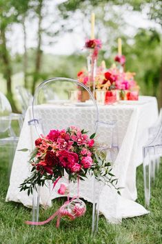 Pops of magenta - Clear acrylic details (like these ghost chairs) will fade away when paired with brightly colored accents, making the colors pop even more! Wedding Coordinator, Wedding Events, Summer Wedding, Dream Wedding, Wedding Reception Chairs, Wedding Chair Decorations, Garden Table And Chairs, Wedding Details, Wedding Ideas