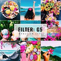 Tropical Instagram Theme ideas Tropical Instagram filter G5 in the #TropicalPack of Preview app. • G5 is perfect for colorful photos • it increases brightness • make the colors *POP* • especially green, blue & pink • lots of saturation • high contrast How I made this theme • I chose very COLORFUL photos. That's why it looks so vibrant. • Color palette: pink, blue, yellow & green • I drag & drop in @preview.app to re-arrange the photos • The subjects are food, f...