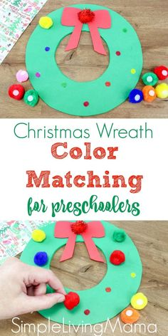 Christmas Wreath Color Match Game for Preschoolers - Simple Living Mama This Christmas wreath color match game for preschoolers will help your little one with his matching skills and will also help him learn color names! Christmas Activities For Kids, Toddler Christmas, Christmas Crafts For Kids, Christmas Projects, Christmas Fun, Holiday Crafts, Christmas Wreaths, Spring Wreaths, Preschool Games